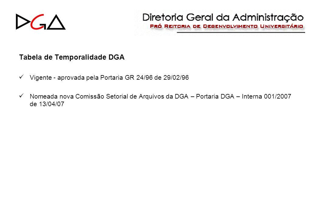 Tabela de Temporalidade DGA Vigente - aprovada pela Portaria GR 24/96 de 29/02/96 Nomeada nova Comissão Setorial de Arquivos da DGA – Portaria DGA – Interna 001/2007 de 13/04/07