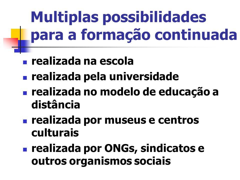 Multiplas possibilidades para a formação continuada realizada na escola realizada pela universidade realizada no modelo de educação a distância realiz