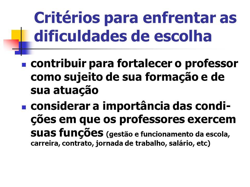 Critérios para enfrentar as dificuldades de escolha contribuir para fortalecer o professor como sujeito de sua formação e de sua atuação considerar a