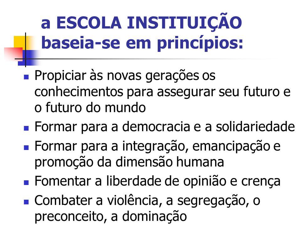a ESCOLA INSTITUIÇÃO baseia-se em princípios: Propiciar às novas gerações os conhecimentos para assegurar seu futuro e o futuro do mundo Formar para a