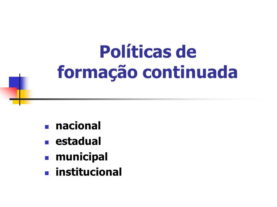 Políticas de formação continuada nacional estadual municipal institucional