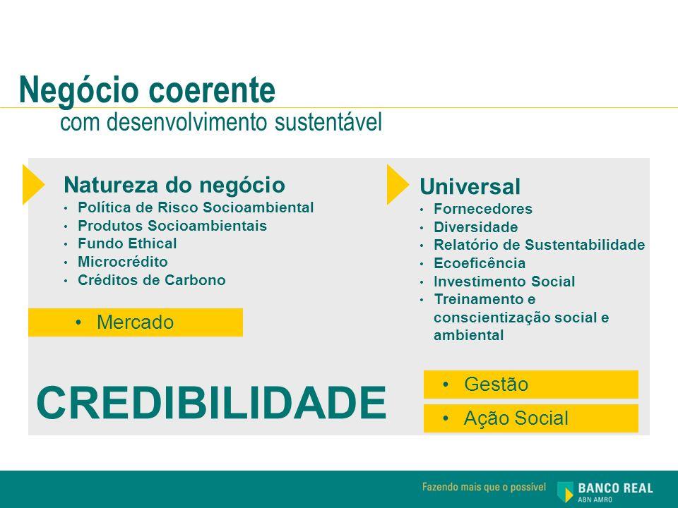 Negócio coerente com desenvolvimento sustentável Universal Fornecedores Diversidade Relatório de Sustentabilidade Ecoeficência Investimento Social Tre