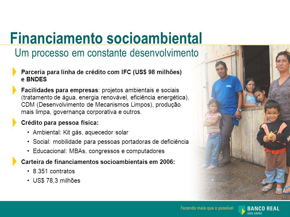 Parceria para linha de crédito com IFC (US$ 98 milhões) e BNDES Facilidades para empresas: projetos ambientais e sociais (tratamento de água, energia