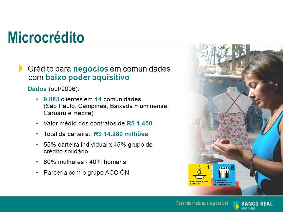 Microcrédito Crédito para negócios em comunidades com baixo poder aquisitivo Dados (out/2006): 9.863 clientes em 14 comunidades (São Paulo, Campinas,