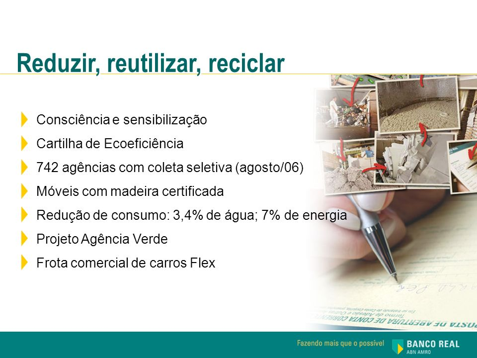 Consciência e sensibilização Cartilha de Ecoeficiência 742 agências com coleta seletiva (agosto/06) Móveis com madeira certificada Redução de consumo: