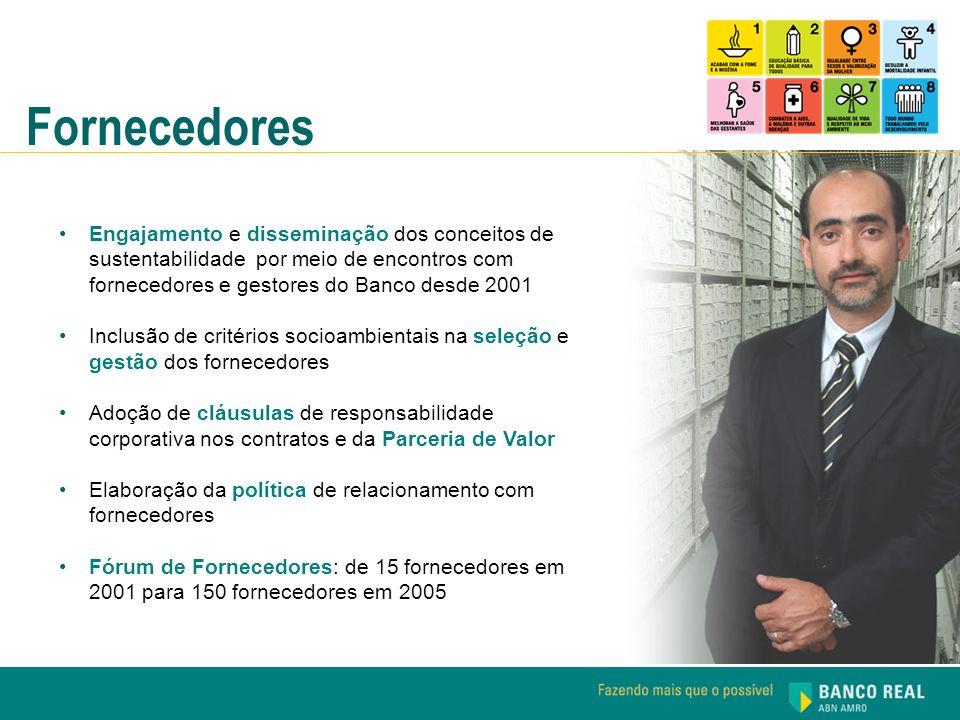 Fornecedores Engajamento e disseminação dos conceitos de sustentabilidade por meio de encontros com fornecedores e gestores do Banco desde 2001 Inclus