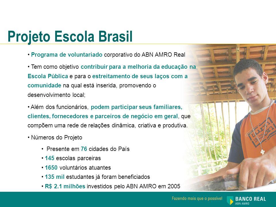 Projeto Escola Brasil Programa de voluntariado corporativo do ABN AMRO Real Tem como objetivo contribuir para a melhoria da educação na Escola Pública