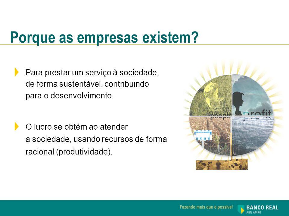 Para prestar um serviço à sociedade, de forma sustentável, contribuindo para o desenvolvimento. O lucro se obtém ao atender a sociedade, usando recurs