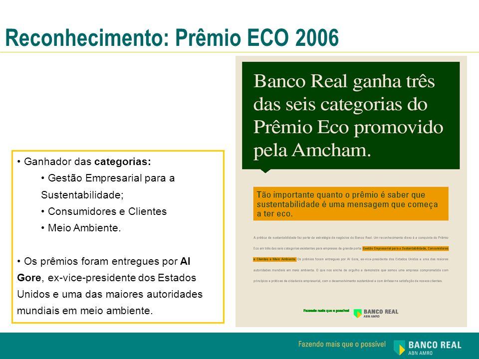 Reconhecimento: Prêmio ECO 2006 Ganhador das categorias: Gestão Empresarial para a Sustentabilidade; Consumidores e Clientes Meio Ambiente. Os prêmios