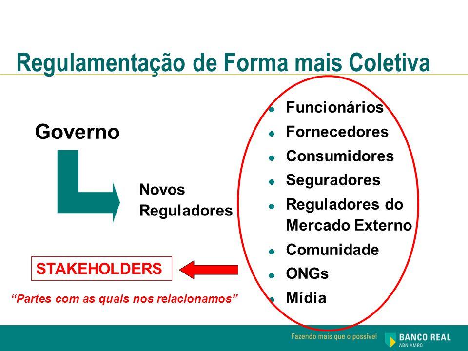 Governo Funcionários Fornecedores Consumidores Seguradores Reguladores do Mercado Externo Comunidade ONGs Mídia Novos Reguladores Regulamentação de Fo