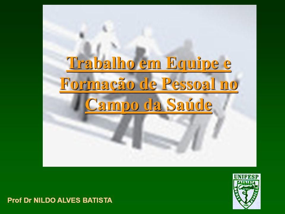 Trabalho em Equipe e Formação de Pessoal no Campo da Saúde Prof Dr NILDO ALVES BATISTA