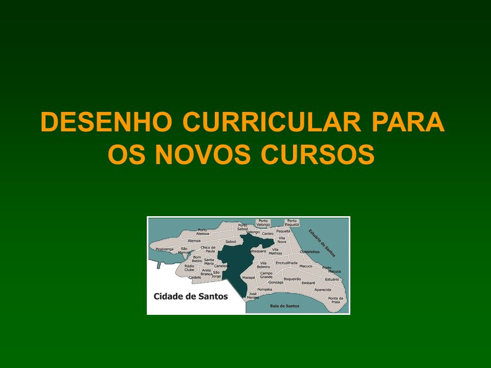 DESENHO CURRICULAR PARA OS NOVOS CURSOS