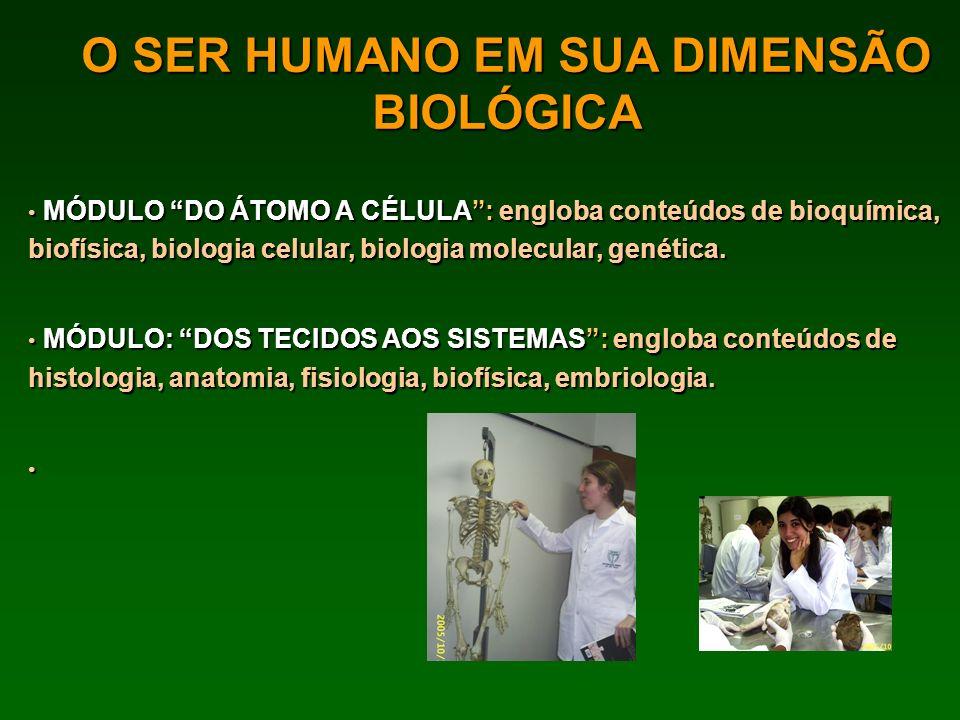 O SER HUMANO EM SUA DIMENSÃO BIOLÓGICA MÓDULO DO ÁTOMO A CÉLULA: engloba conteúdos de bioquímica, biofísica, biologia celular, biologia molecular, gen
