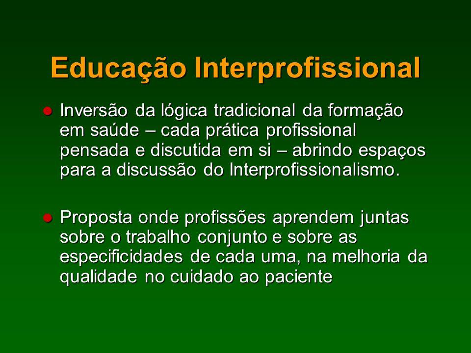 Inversão da lógica tradicional da formação em saúde – cada prática profissional pensada e discutida em si – abrindo espaços para a discussão do Interp