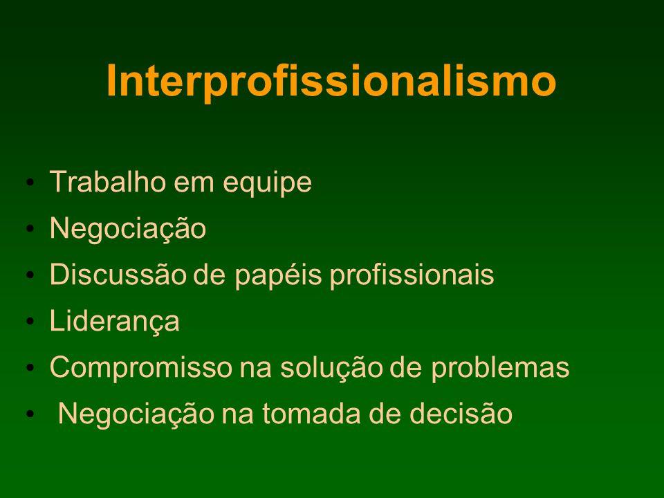 Interprofissionalismo Trabalho em equipe Negociação Discussão de papéis profissionais Liderança Compromisso na solução de problemas Negociação na toma
