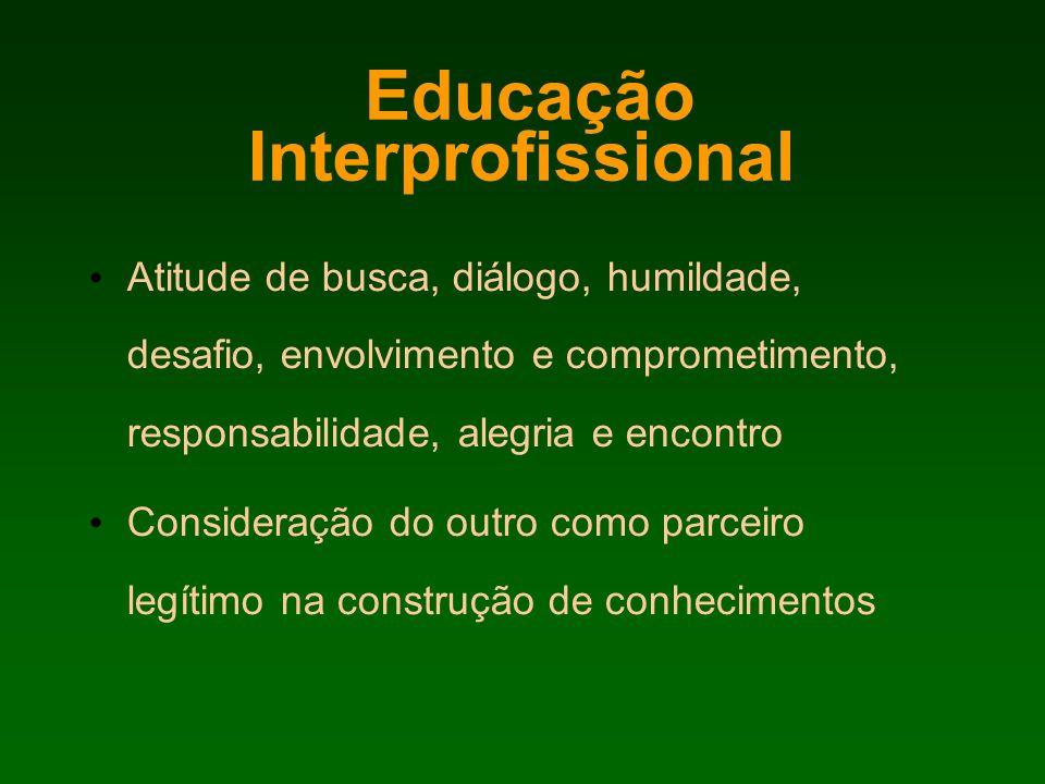 Educação Interprofissional Atitude de busca, diálogo, humildade, desafio, envolvimento e comprometimento, responsabilidade, alegria e encontro Conside