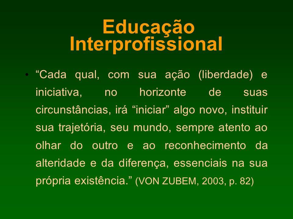 Educação Interprofissional Cada qual, com sua ação (liberdade) e iniciativa, no horizonte de suas circunstâncias, irá iniciar algo novo, instituir sua