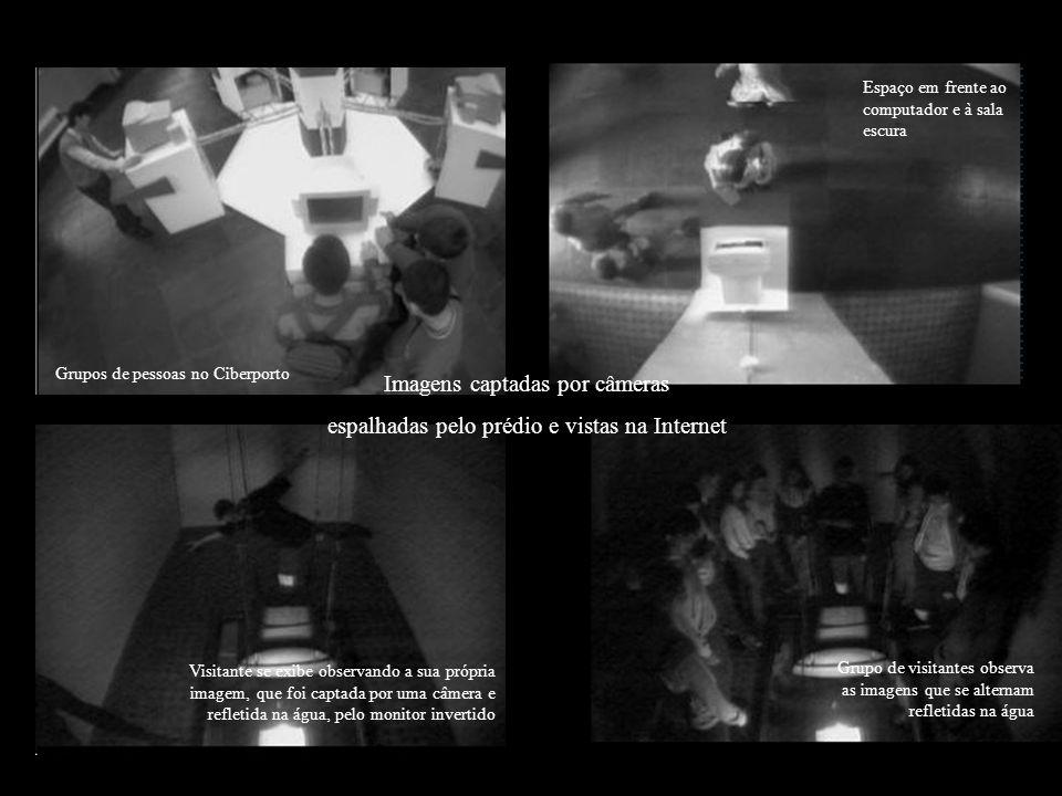 Imagens captadas por câmeras espalhadas pelo prédio e vistas na Internet Grupos de pessoas no Ciberporto Espaço em frente ao computador e à sala escur