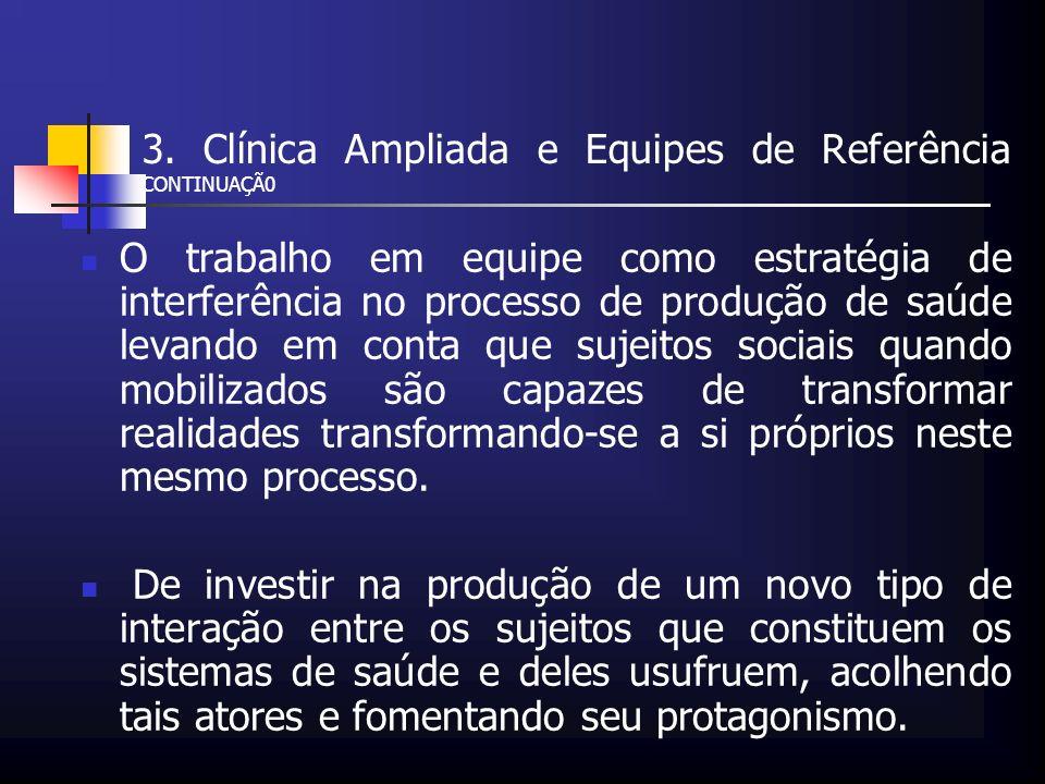 3. Clínica Ampliada e Equipes de Referência CONTINUAÇÃ0 O trabalho em equipe como estratégia de interferência no processo de produção de saúde levando