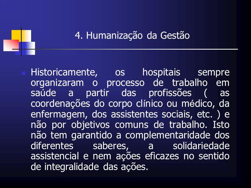 4. Humanização da Gestão Historicamente, os hospitais sempre organizaram o processo de trabalho em sa ú de a partir das profissões ( as coordena ç ões
