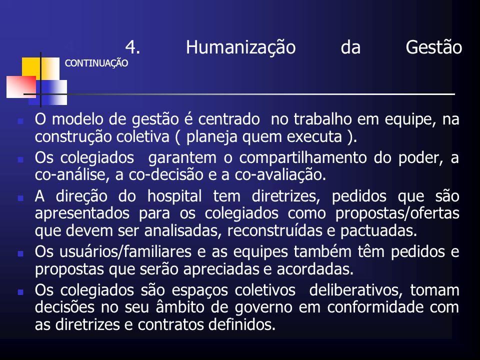 4. 4. Humanização da Gestão CONTINUAÇÃO O modelo de gestão é centrado no trabalho em equipe, na construção coletiva ( planeja quem executa ). Os coleg