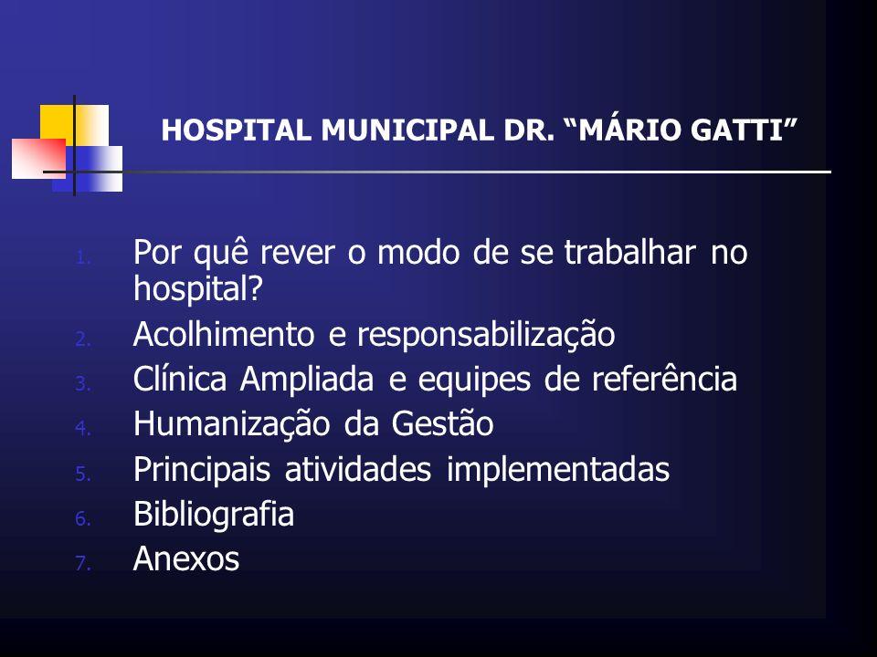 HOSPITAL MUNICIPAL DR. MÁRIO GATTI 1. Por quê rever o modo de se trabalhar no hospital? 2. Acolhimento e responsabilização 3. Clínica Ampliada e equip