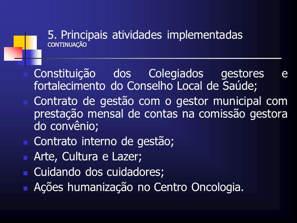5. Principais atividades implementadas CONTINUAÇÃO Constituição dos Colegiados gestores e fortalecimento do Conselho Local de Saúde; Contrato de gestã