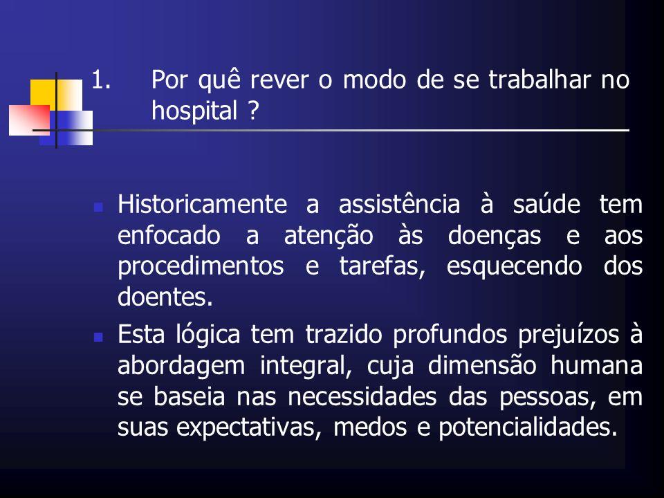 1.Por quê rever o modo de se trabalhar no hospital ? Historicamente a assistência à saúde tem enfocado a atenção às doenças e aos procedimentos e tare