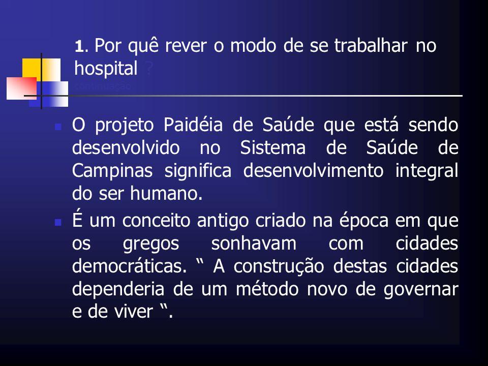 1. Por quê rever o modo de se trabalhar no hospital ? continuação O projeto Paidéia de Saúde que está sendo desenvolvido no Sistema de Saúde de Campin