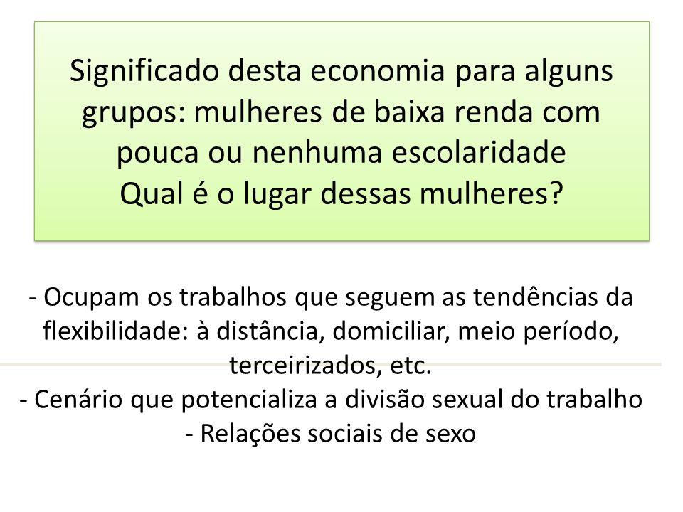 Significado desta economia para alguns grupos: mulheres de baixa renda com pouca ou nenhuma escolaridade Qual é o lugar dessas mulheres? - Ocupam os t