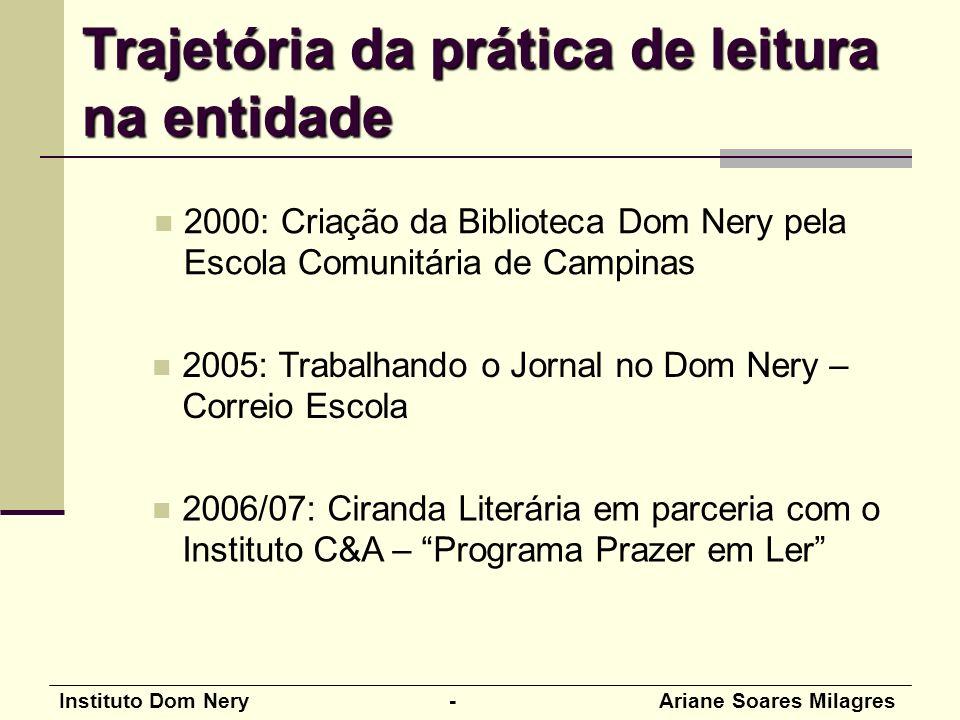 Instituto Dom Nery - Ariane Soares Milagres 2000: Criação da Biblioteca Dom Nery pela Escola Comunitária de Campinas 2005: Trabalhando o Jornal no Dom