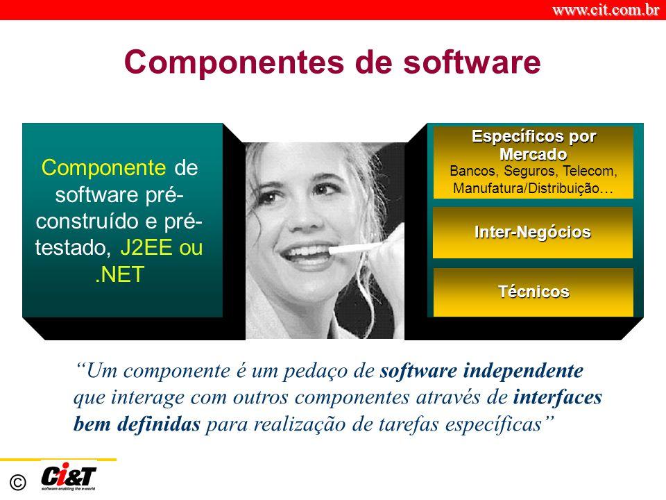 www.cit.com.br © Componentes de software Componente de software pré- construído e pré- testado, J2EE ou.NET Específicos por Mercado Bancos, Seguros, Telecom, Manufatura/Distribuição...