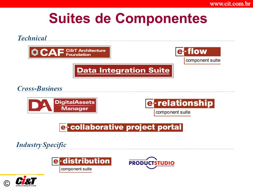 www.cit.com.br © Suites de Componentes Industry Specific Technical Cross-Business
