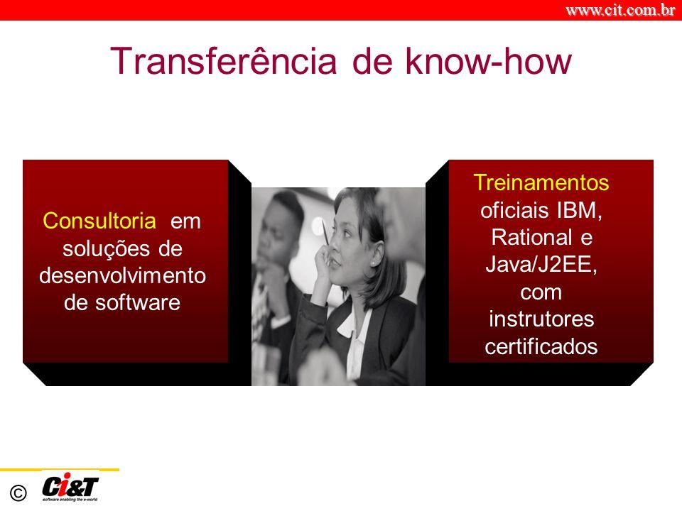 www.cit.com.br © Transferência de know-how Consultoria em soluções de desenvolvimento de software Treinamentos oficiais IBM, Rational e Java/J2EE, com