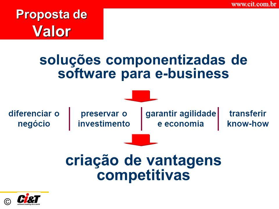 www.cit.com.br © Proposta de Valor criação de vantagens competitivas soluções componentizadas de software para e-business transferir know-how diferenc