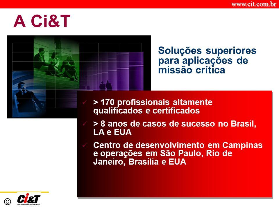 www.cit.com.br © A Ci&T Soluções superiores para aplicações de missão crítica > 170 profissionais altamente qualificados e certificados > 8 anos de ca