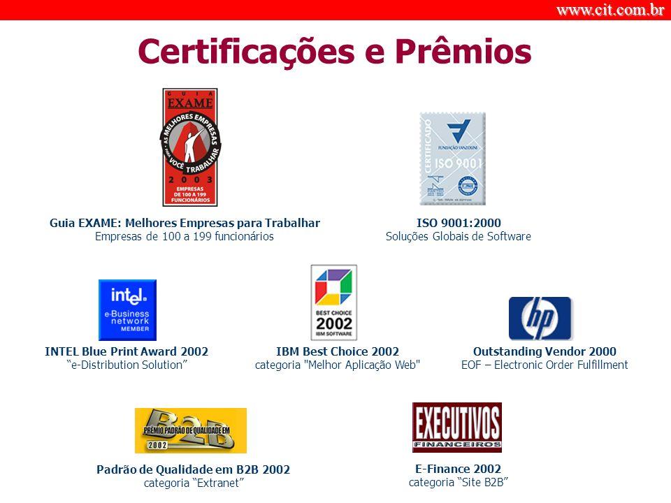 www.cit.com.br © Certificações e Prêmios Padrão de Qualidade em B2B 2002 categoria Extranet IBM Best Choice 2002 categoria