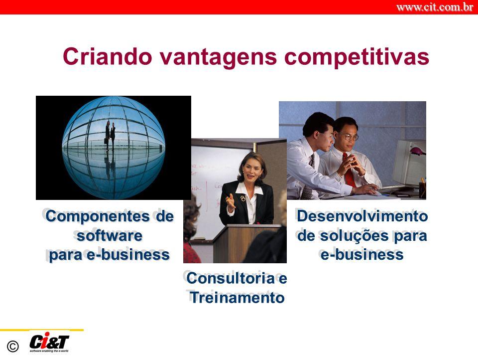 www.cit.com.br © Criando vantagens competitivas Desenvolvimento de soluções para e-business Desenvolvimento de soluções para e-business Componentes de