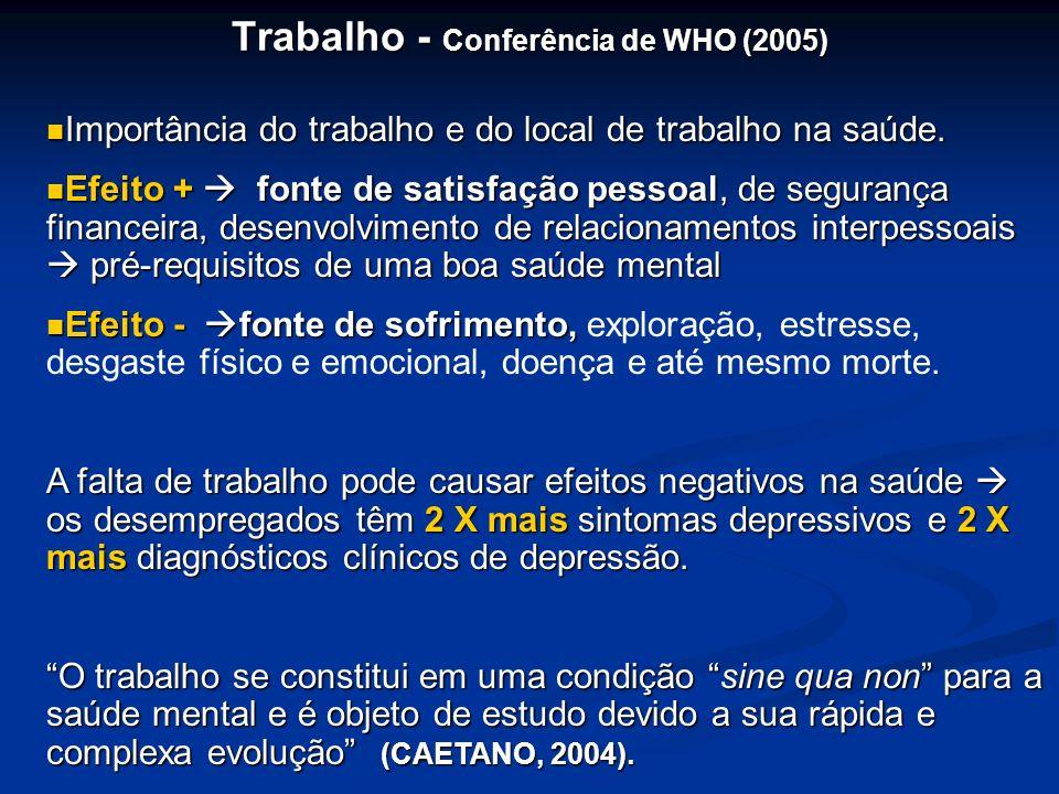 Trabalho - Conferência de WHO (2005) Importância do trabalho e do local de trabalho na saúde. Importância do trabalho e do local de trabalho na saúde.