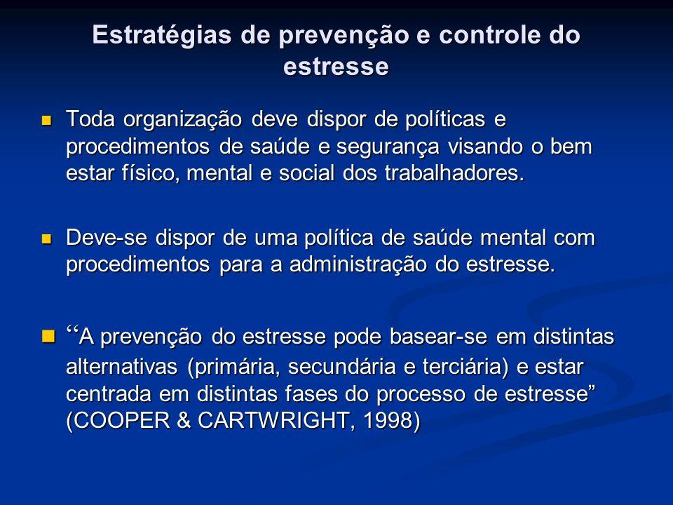 Estratégias de prevenção e controle do estresse Toda organização deve dispor de políticas e procedimentos de saúde e segurança visando o bem estar fís