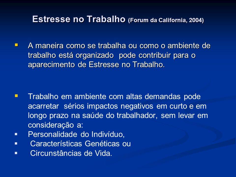 Estresse no Trabalho (Forum da California, 2004) A maneira como se trabalha ou como o ambiente de trabalho está organizado pode contribuir para o apar