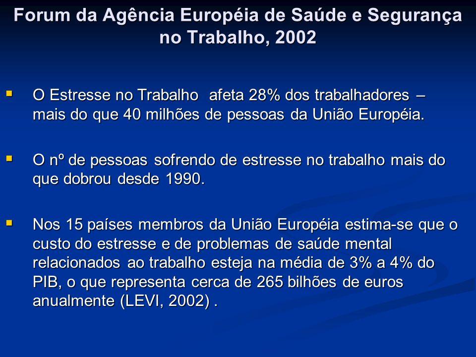 Forum da Agência Européia de Saúde e Segurança no Trabalho, 2002 Forum da Agência Européia de Saúde e Segurança no Trabalho, 2002 O Estresse no Trabal