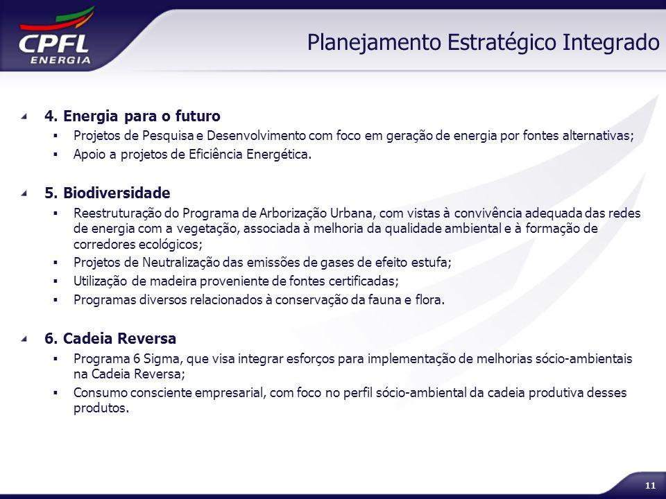 11 Planejamento Estratégico Integrado 4. Energia para o futuro Projetos de Pesquisa e Desenvolvimento com foco em geração de energia por fontes altern