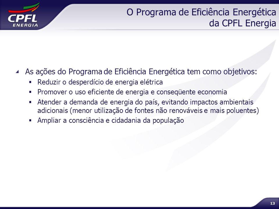 13 O Programa de Eficiência Energética da CPFL Energia As ações do Programa de Eficiência Energética tem como objetivos: Reduzir o desperdício de ener