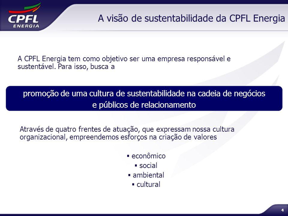 55 A visão de sustentabilidade da CPFL Energia Governança Corporativa Público Interno Rede de Negócios Gestão Ambiental Investimento Social Privado Disseminação e Gerenciamento da Ética e dos Direcionadores Corporativos