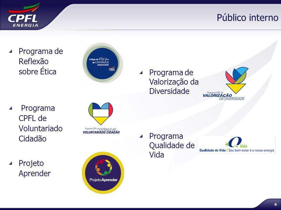 6 Público interno Programa de Reflexão sobre Ética Programa CPFL de Voluntariado Cidadão Projeto Aprender Programa de Valorização da Diversidade Progr