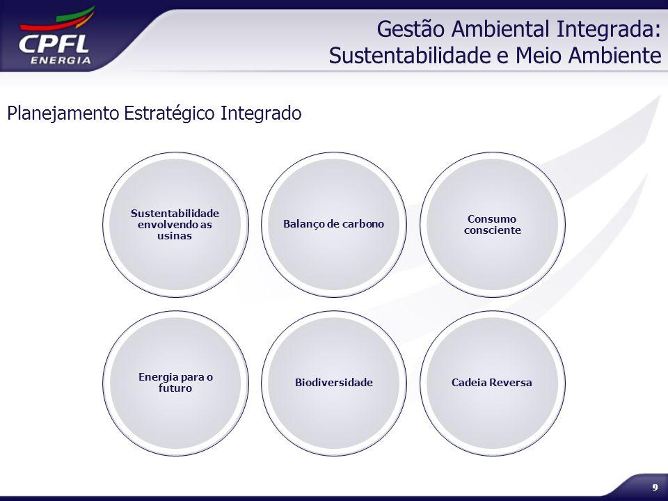 99 Gestão Ambiental Integrada: Sustentabilidade e Meio Ambiente Planejamento Estratégico Integrado Sustentabilidade envolvendo as usinas Balanço de ca