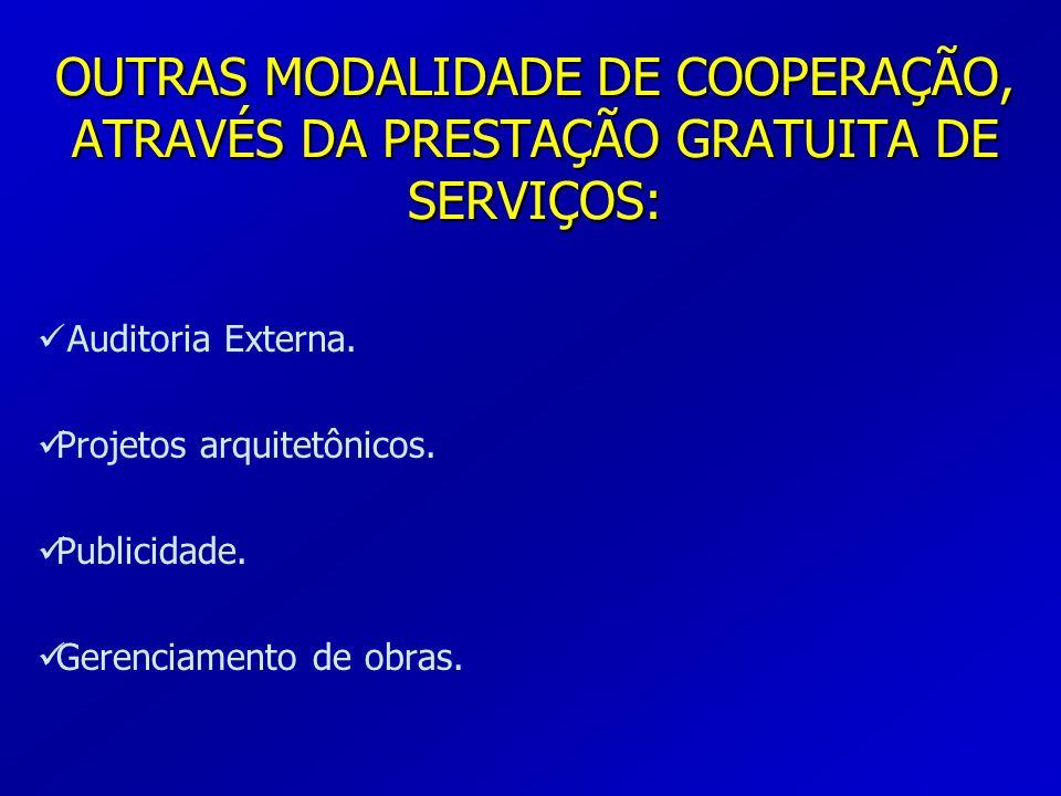 OUTRAS MODALIDADE DE COOPERAÇÃO, ATRAVÉS DA PRESTAÇÃO GRATUITA DE SERVIÇOS: Auditoria Externa. Projetos arquitetônicos. Publicidade. Gerenciamento de