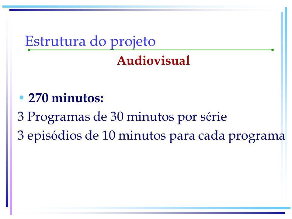Estrutura do projeto Á udio 270 minutos: 4 programas para cada s é rie 3 programas com 2 epis ó dios de 10 minutos 1 programa com 3 epis ó dios de 10 minutos