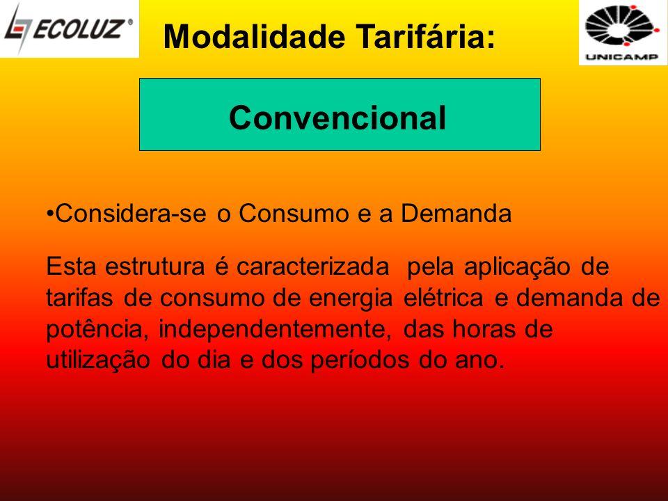 Modalidade Tarifária: Considera-se o Consumo e a Demanda Esta estrutura é caracterizada pela aplicação de tarifas de consumo de energia elétrica e dem